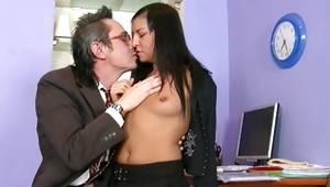 Whorish woman is satisfying a huge superb penis of old man